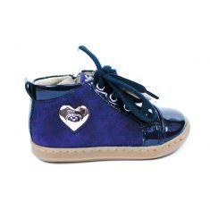 SHOO POM bottines fille BOUBA HEART bleu avec fermeture éclair et lacet