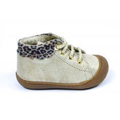 NATURINO bottines COCOON cuir doré à lacets col léopard