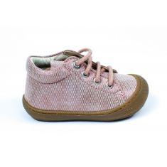 Naturino COCOON Chaussures bébé à lacet premiers pas souple fille rose à motif en cuir
