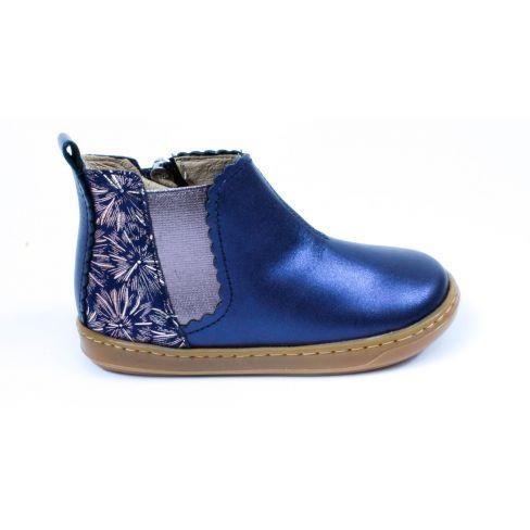 Shoo Pom bottines bleu marine cuir fille BOUBA JODZIP à fermeture éclair