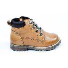 Boots montantes cuir Froddo à lacet et fermeture garçon camel