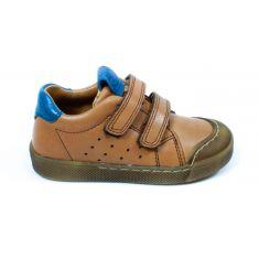 Froddo Baskets basses cuir camel et bleu à scratchs garçon