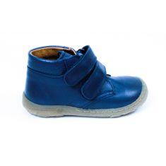 FRODDO bottines garçon bleu marine en cuir et à scratch - pied fin