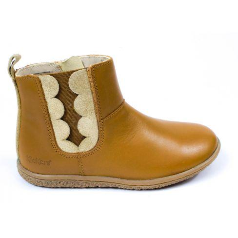 Kickers Boots fille en cuir VETUDI camel or