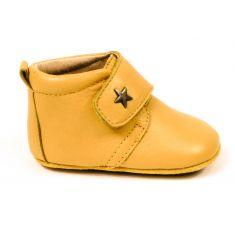 Bisgaard Baby star chausson en cuir bébé garçon jaune maïs à scratch