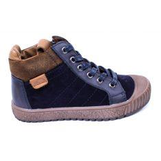 Bellamy baskets bleu cuir garçon à fermeture et lacets BERTO