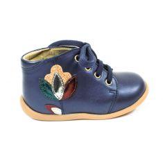 Pom d'Api bottines 1er pas STAND UP bleu marine motif fleur à lacet