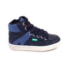 Kickers Sneakers garçon à lacet et fermeture  bleu marine LOWELL