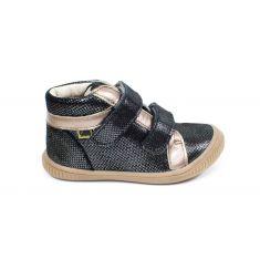 GBB Boots fille cuir gris argent à velcro EDEA