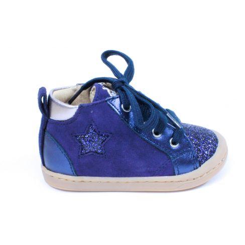 SHOO POM bottines fille KIKKI STAR  bleu nubuck à fermeture éclair