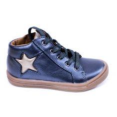 BELLAMY chaussures - bottines fille marine et or à scratchs TAIS