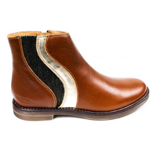 ADOLIE Boots fille GINZA WAVES cuir camel et platine