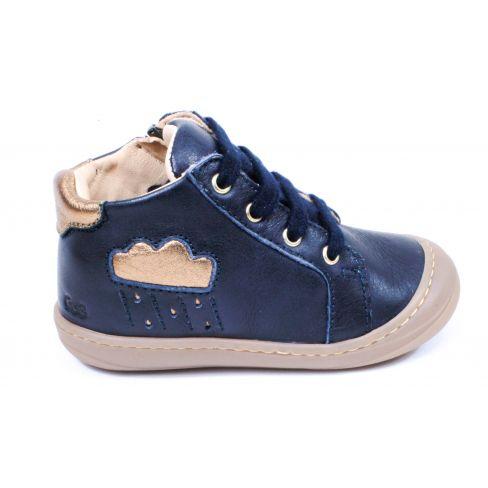 Bottines GBB cuir bleu marine or à lacet - Chaussures fille APOLOGY