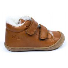 Naturino COCOON Chaussures bébé fourré 1er pas souple garçon cognac à scratch en cuir