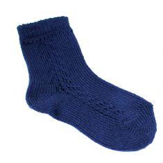 """Chaussettes basses ajourées """"dentelle"""" en coton perlé coloris bleu marine"""