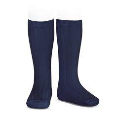 Chaussettes hautes Merino chaudes maille côtelée coloris bleu marine