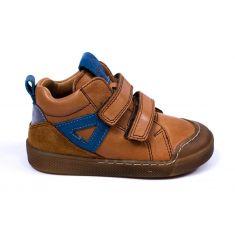Froddo Baskets hautes cuir camel et bleu à 2 scratchs garçon
