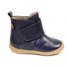 Boots Froddo bleu marine fourrées laine mouton, en cuir et à scratch