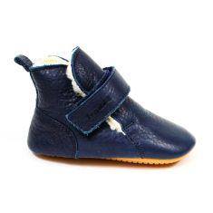 Froddo Prewalkers haut fourré laine - Chaussures bébé garçon pré-marche en cuir souple bleu marine