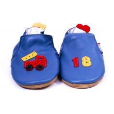 Bellamy chaussons bébé cuir souple avec semelle antidérapante motif pompier