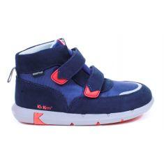 Kickers Sneakers garçon à scratch bleu marine JUNIBO