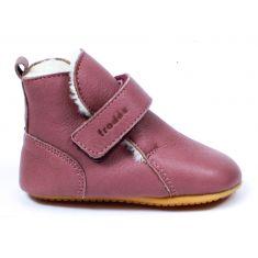 Froddo Prewalkers haut fourré laine - Chaussures bébé fille pré-marche en cuir souple rose