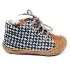 Naturino COCOON Chaussures bébé à lacet premiers pas souple motif pied de poule